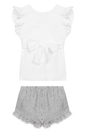 Детский комплект из льняного топа и шорт IL GUFO белого цвета, арт. P19DP282L1010/2A-4A | Фото 2