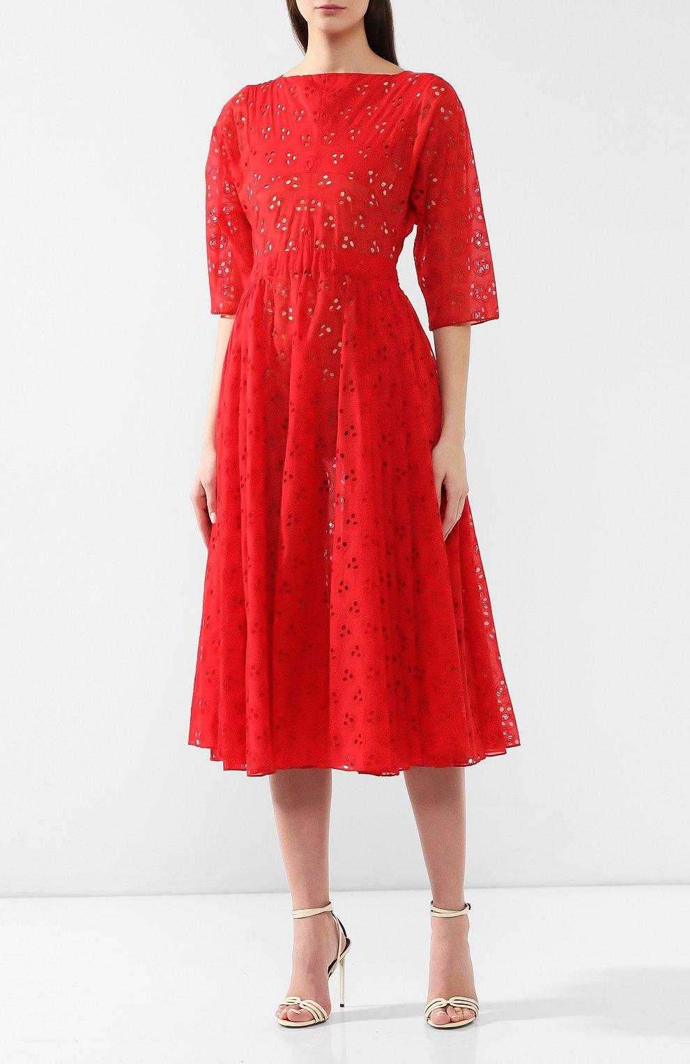 e719769ae89 Женское красное хлопковое платье ALAIA — купить за 320500 руб. в ...