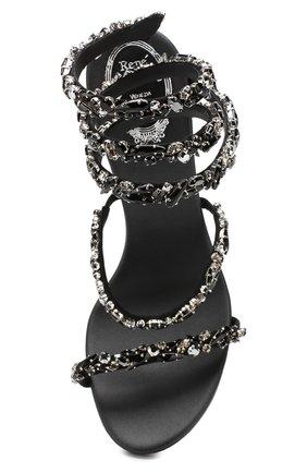 Кожаные босоножки Cleo Rene Caovilla черные | Фото №5