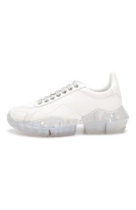 Кожаные кроссовки Diamond Jimmy Choo белые | Фото №3