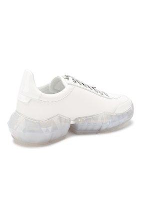 Кожаные кроссовки Diamond Jimmy Choo белые | Фото №4
