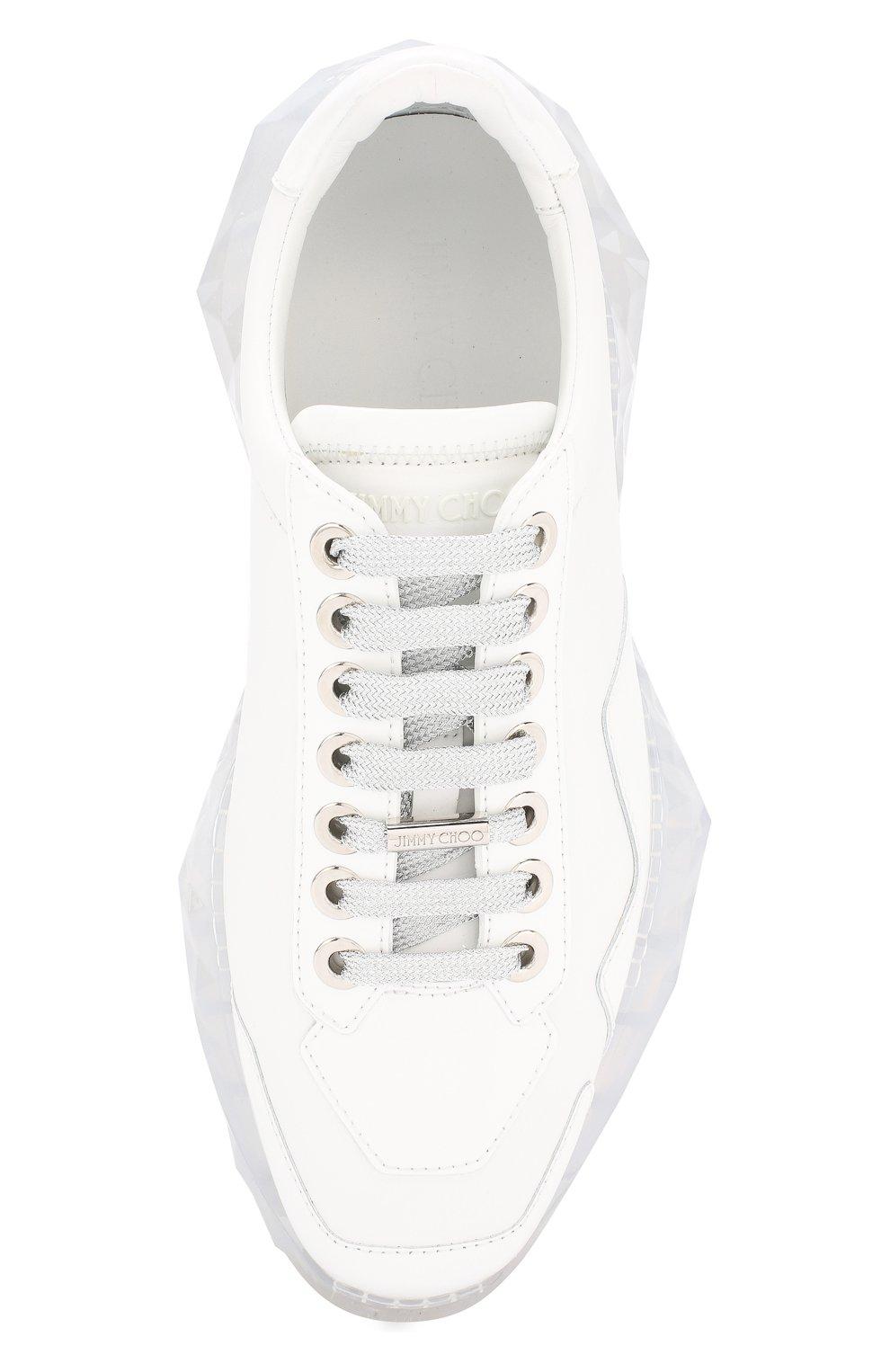 Кожаные кроссовки Diamond Jimmy Choo белые | Фото №5