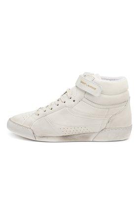 Кожаные кроссовки Lenny Saint Laurent белые | Фото №3
