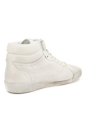 Кожаные кроссовки Lenny Saint Laurent белые | Фото №4
