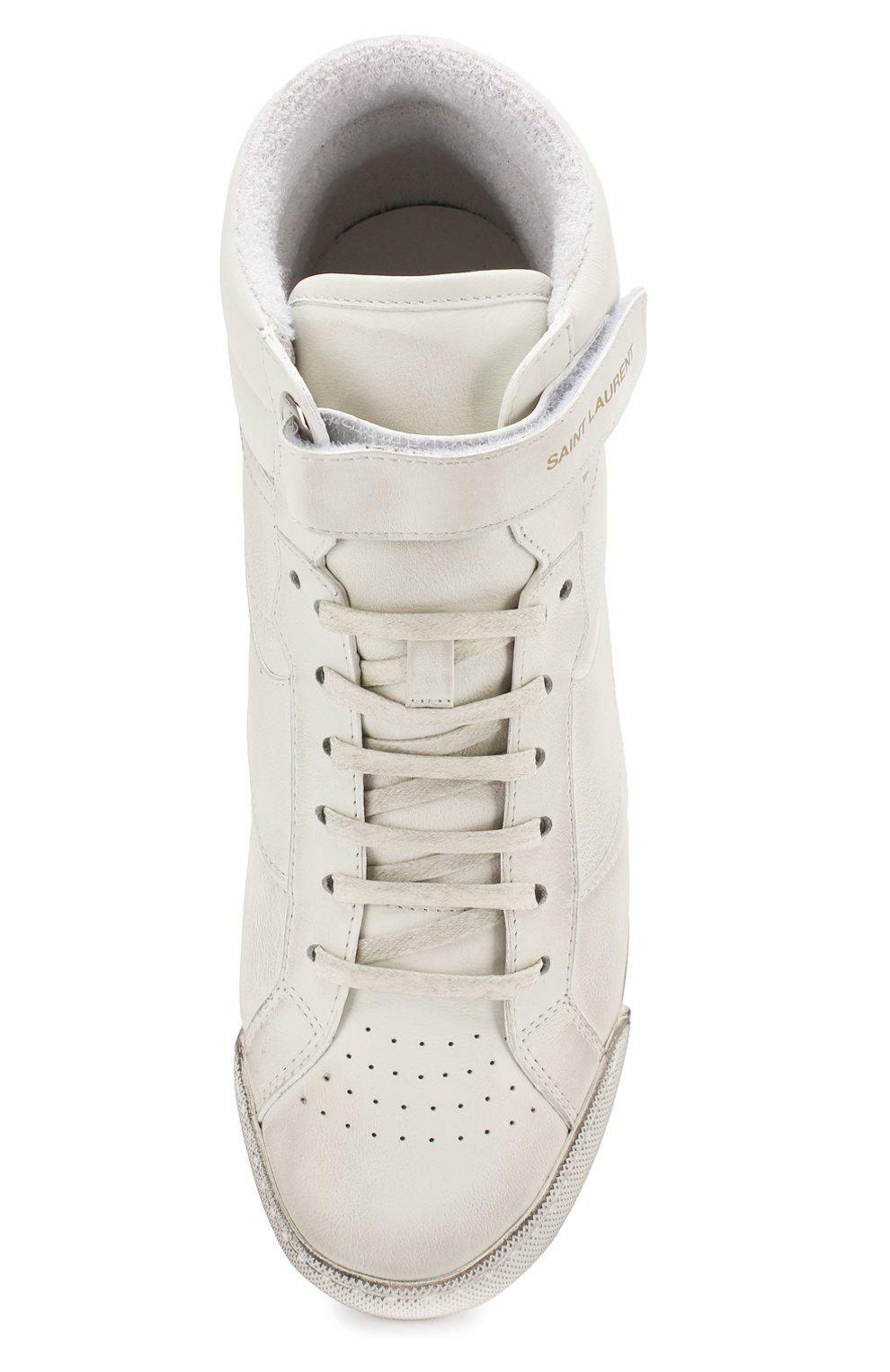 Кожаные кроссовки Lenny Saint Laurent белые | Фото №5