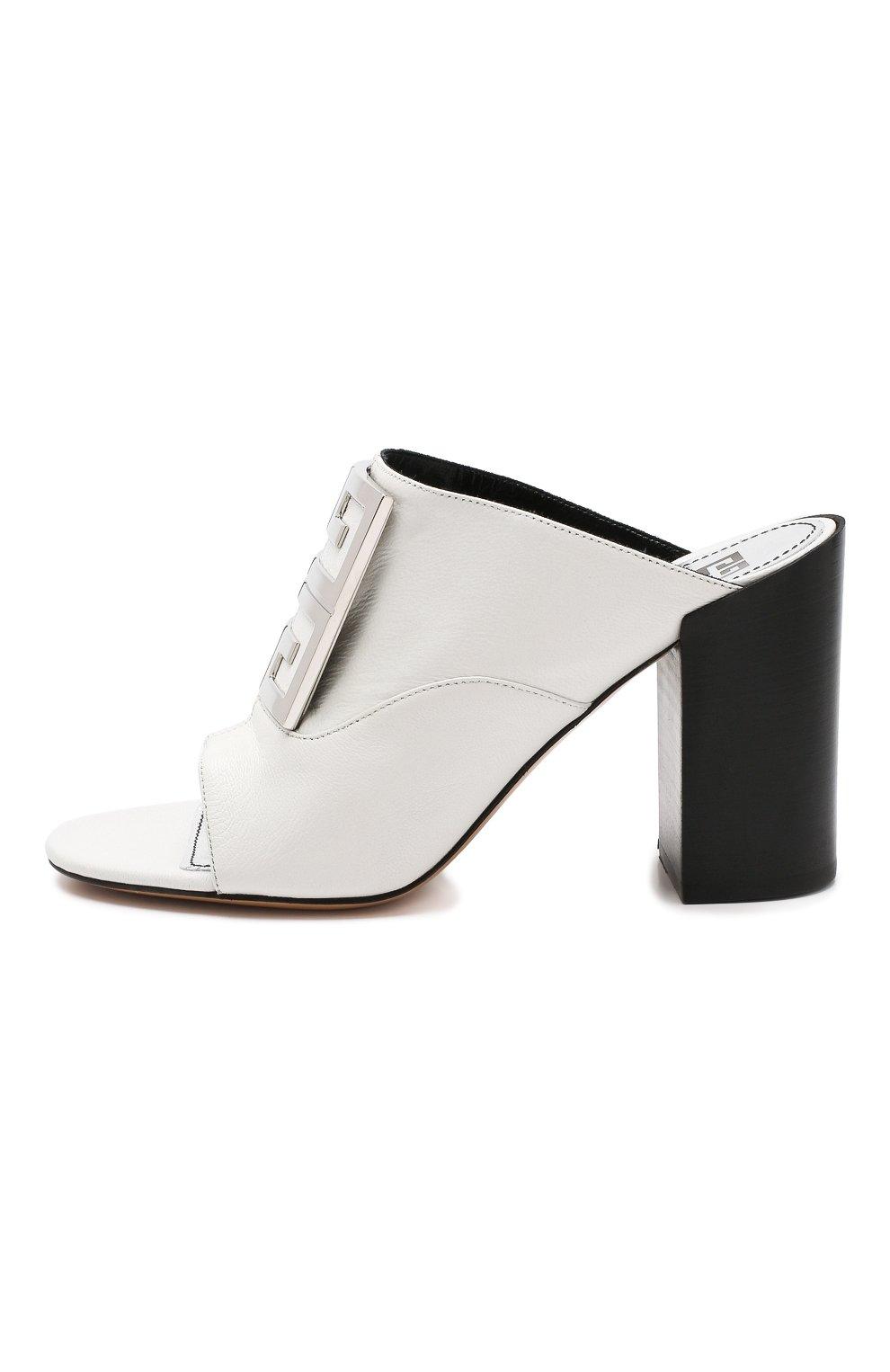 Кожаные мюли 4G Givenchy белые | Фото №3