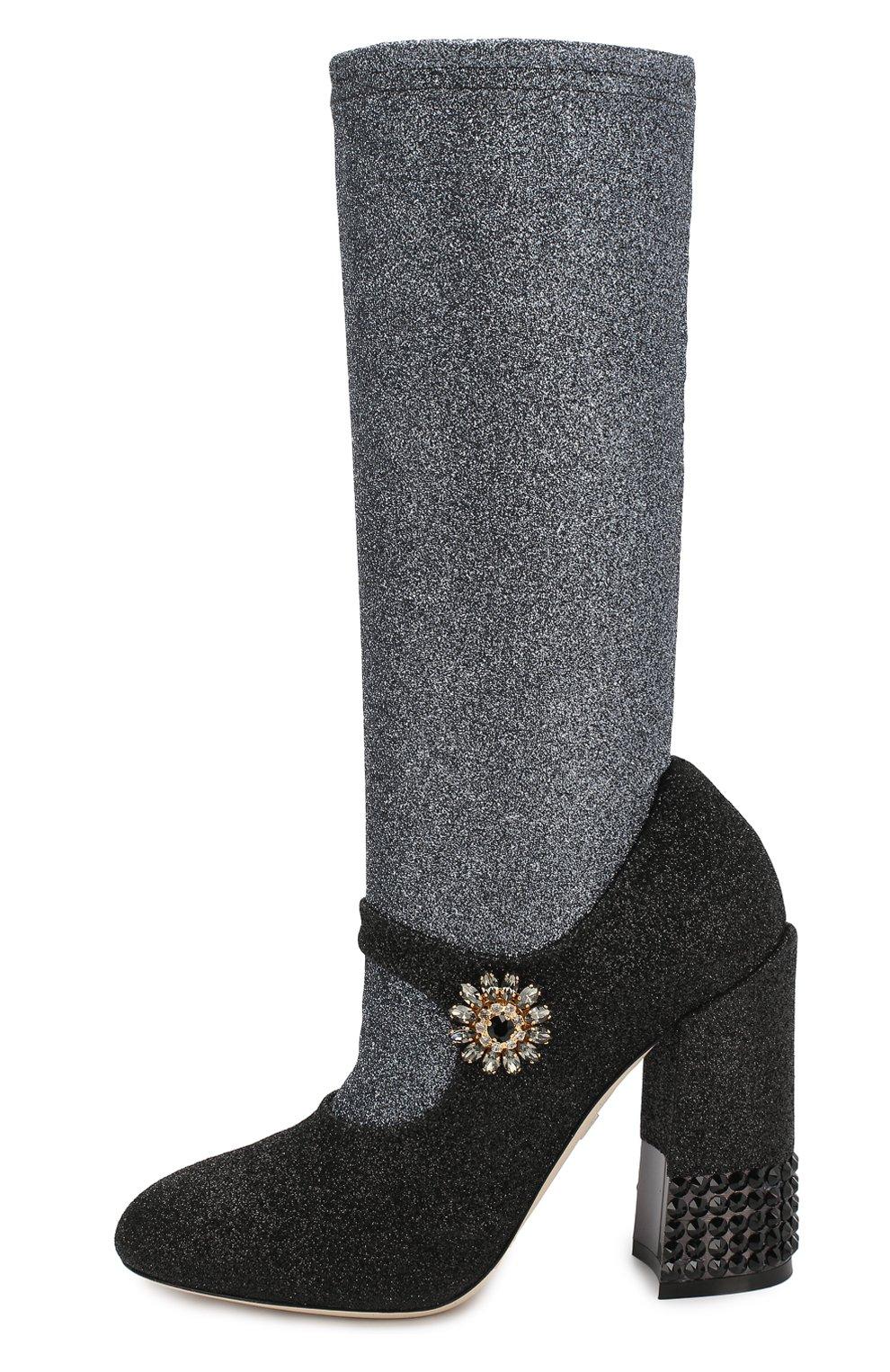 Текстильные ботильоны Vally Dolce & Gabbana черные | Фото №3