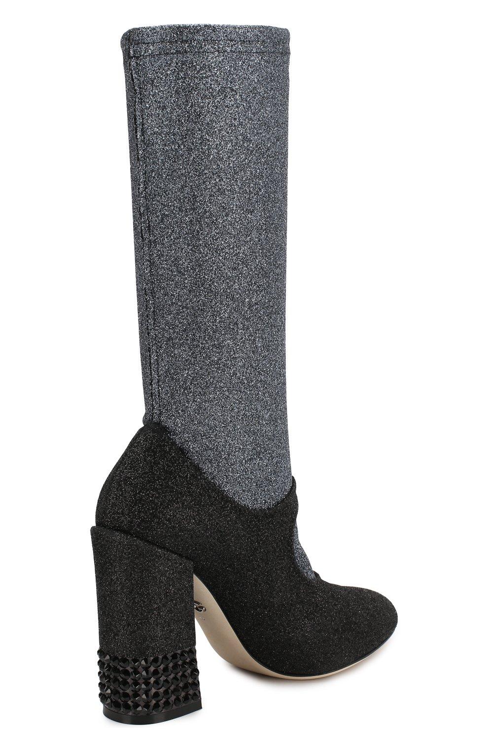 Текстильные ботильоны Vally Dolce & Gabbana черные | Фото №4