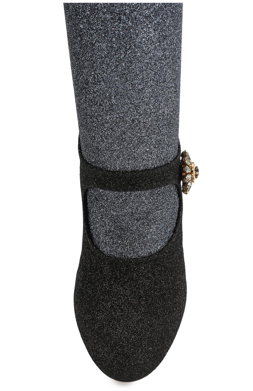 Текстильные ботильоны Vally Dolce & Gabbana черные | Фото №5