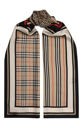 Женский шелковый шарф BURBERRY бежевого цвета, арт. 8011951   Фото 1 (Материал: Текстиль, Шелк; Статус проверки: Проверена категория)