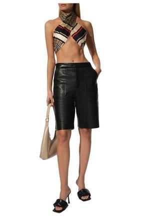 Женский шелковый шарф BURBERRY бежевого цвета, арт. 8011951   Фото 2 (Материал: Текстиль, Шелк; Статус проверки: Проверена категория)