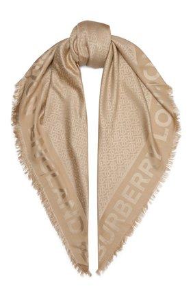 Женский платок из смеси шелка и шерсти BURBERRY бежевого цвета, арт. 8009798 | Фото 1
