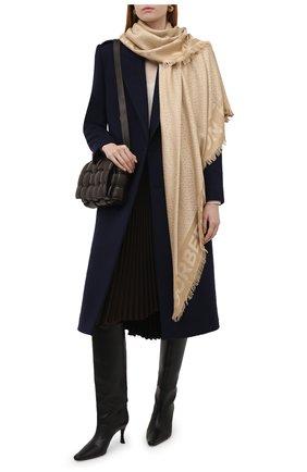 Женский платок из смеси шелка и шерсти BURBERRY бежевого цвета, арт. 8009798 | Фото 2
