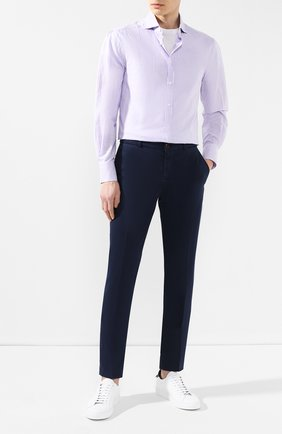 Мужская рубашка из смеси льна и хлопка BRUNELLO CUCINELLI сиреневого цвета, арт. MQ6751718 | Фото 2