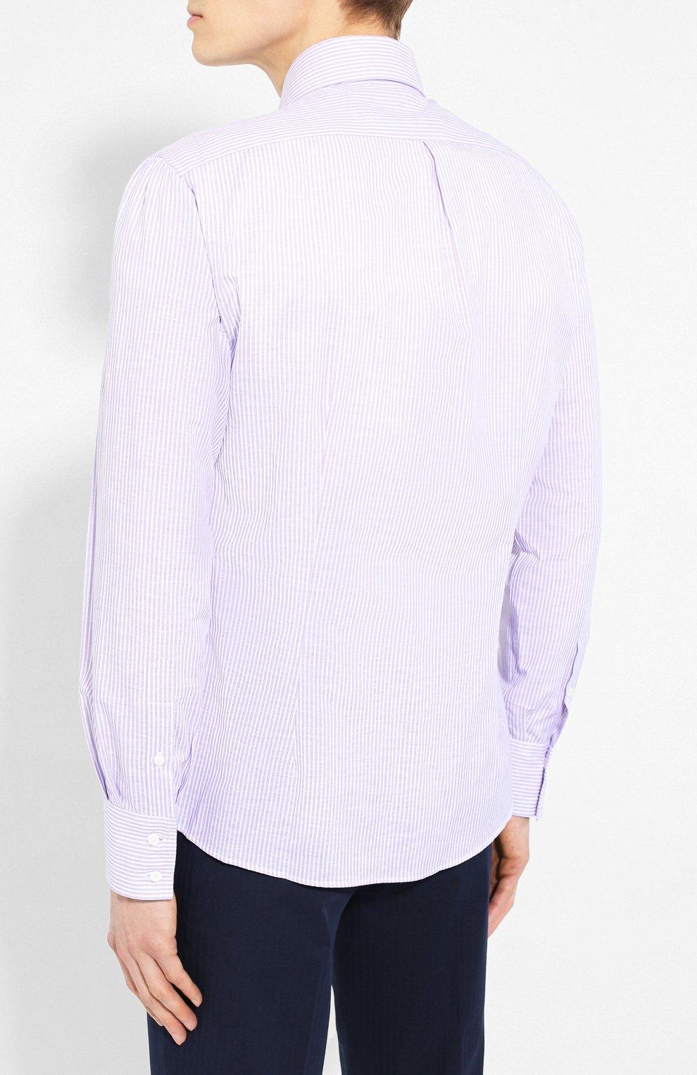 9409f7cfc32e511 Мужская сиреневая рубашка из смеси льна и хлопка BRUNELLO CUCINELLI ...