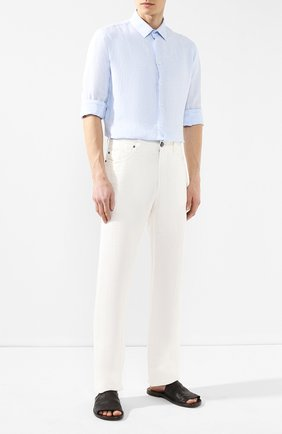 Мужская льняная рубашка GIORGIO ARMANI голубого цвета, арт. 8WGCCZ97/TZ243 | Фото 2