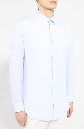 Мужская льняная рубашка GIORGIO ARMANI голубого цвета, арт. 8WGCCZ97/TZ243 | Фото 3