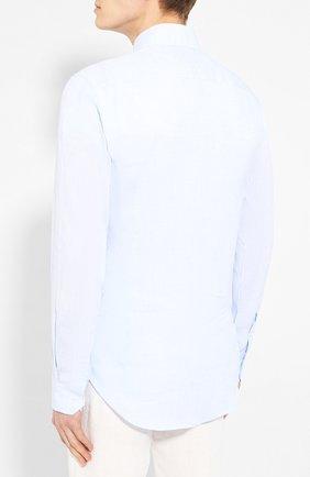 Мужская льняная рубашка GIORGIO ARMANI голубого цвета, арт. 8WGCCZ97/TZ243 | Фото 4