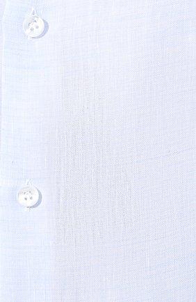 Мужская льняная рубашка GIORGIO ARMANI голубого цвета, арт. 8WGCCZ97/TZ243 | Фото 5