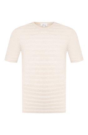 Мужская футболка из смеси льна и шелка BRIONI бежевого цвета, арт. UMR00L/P8K16 | Фото 1