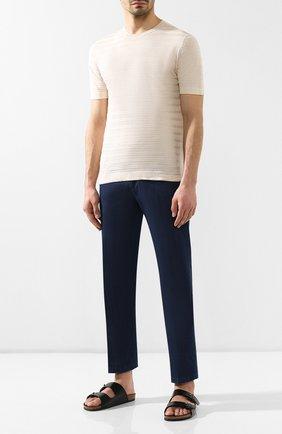 Мужская футболка из смеси льна и шелка BRIONI бежевого цвета, арт. UMR00L/P8K16 | Фото 2