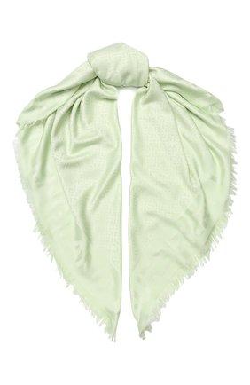 Женский платок из смеси шелка и шерсти BURBERRY светло-зеленого цвета, арт. 8009799 | Фото 1