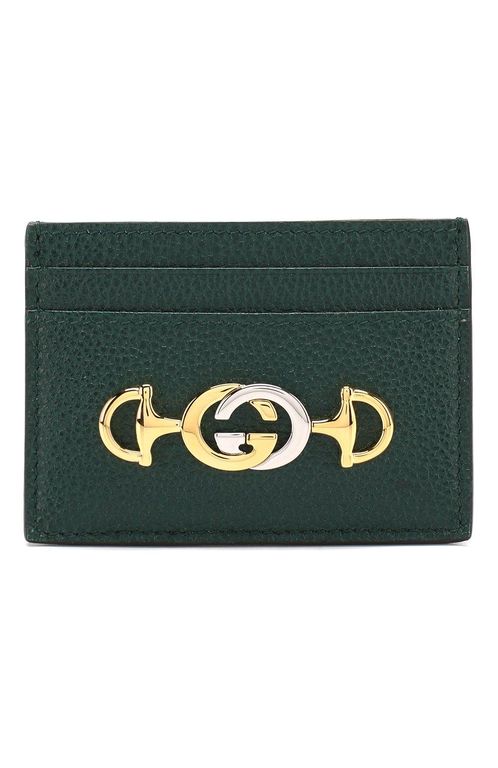 Женский кожаный футляр для кредитных карт zumi GUCCI зеленого цвета, арт. 570679/1B90X | Фото 1