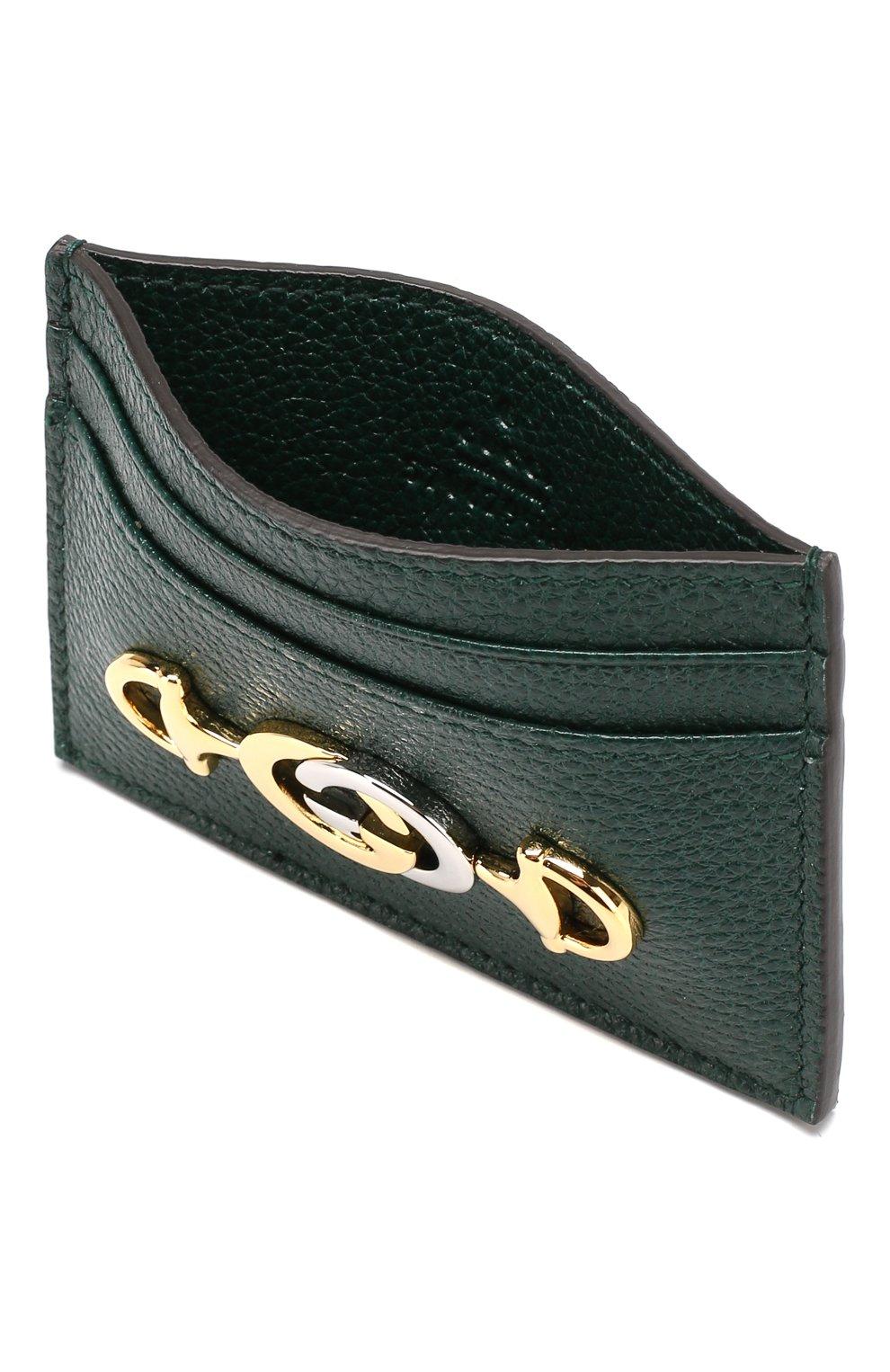 Женский кожаный футляр для кредитных карт zumi GUCCI зеленого цвета, арт. 570679/1B90X | Фото 3