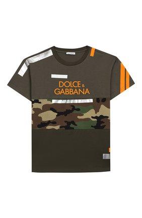 Детская хлопковая футболка DOLCE & GABBANA хаки цвета, арт. L4JT9H/G7RIP/8-14 | Фото 1