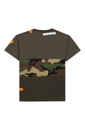 Детская хлопковая футболка DOLCE & GABBANA хаки цвета, арт. L4JT9H/G7RIP/8-14 | Фото 2
