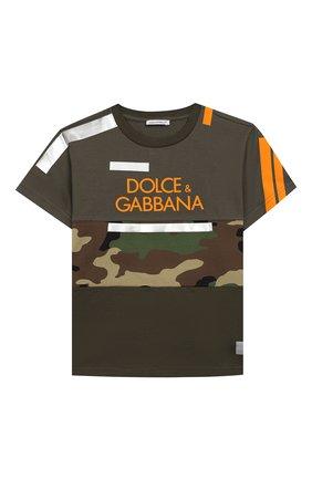 Детская хлопковая футболка DOLCE & GABBANA хаки цвета, арт. L4JT9H/G7RIP/2-6 | Фото 1
