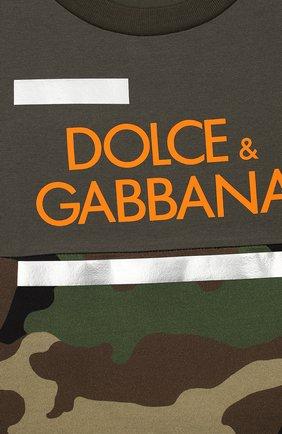 Детская хлопковая футболка DOLCE & GABBANA хаки цвета, арт. L4JT9H/G7RIP/2-6 | Фото 3