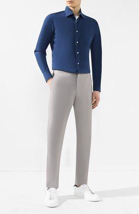 Мужская хлопковая рубашка  KITON синего цвета, арт. UMCNERCH0690402   Фото 2