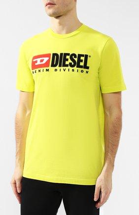 Хлопковая футболка  Diesel желтая | Фото №3