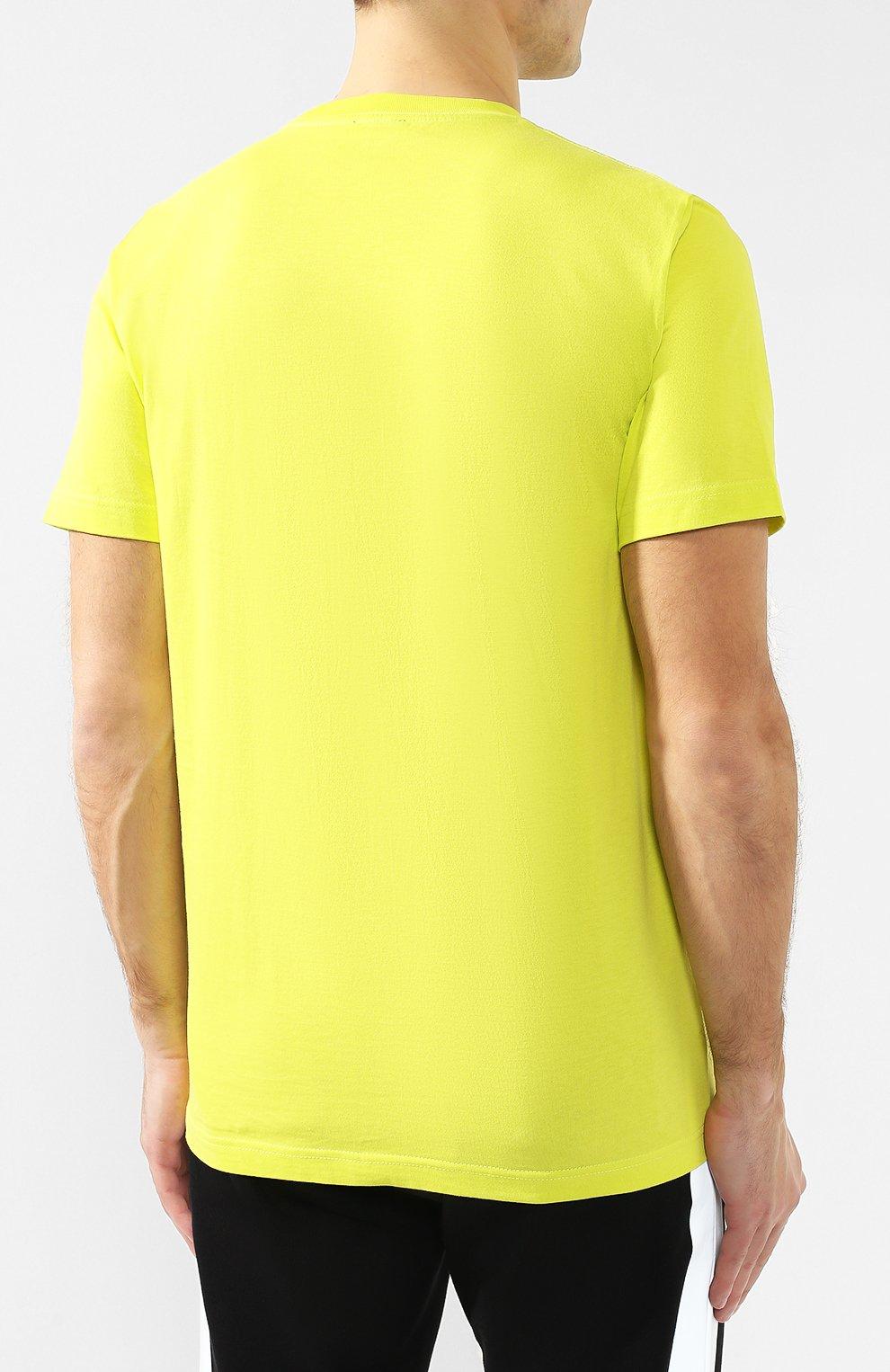 Хлопковая футболка  Diesel желтая | Фото №4