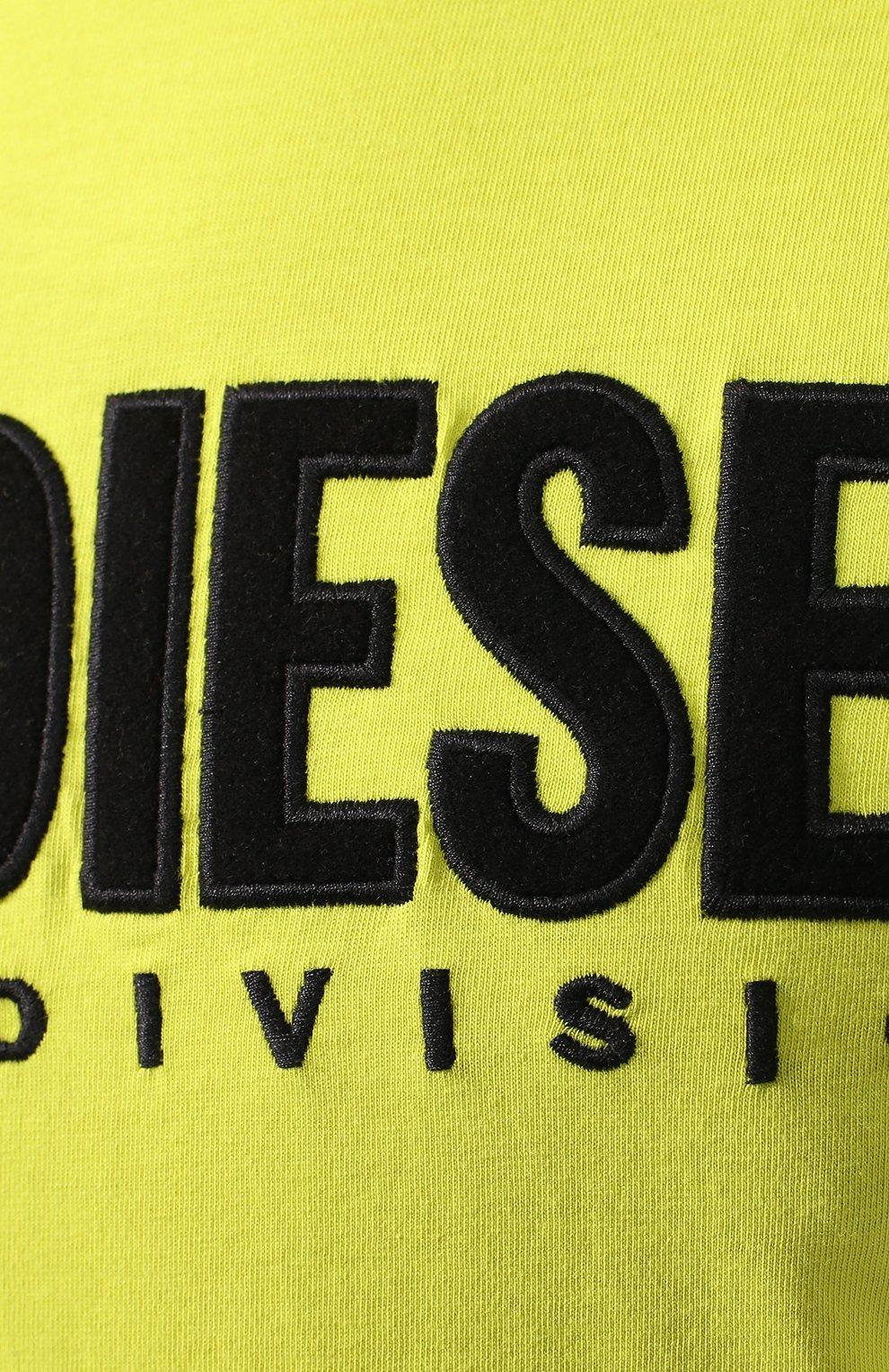 Хлопковая футболка  Diesel желтая | Фото №5