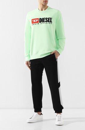 Хлопковый свитшот с принтом Diesel светло-зеленый | Фото №2