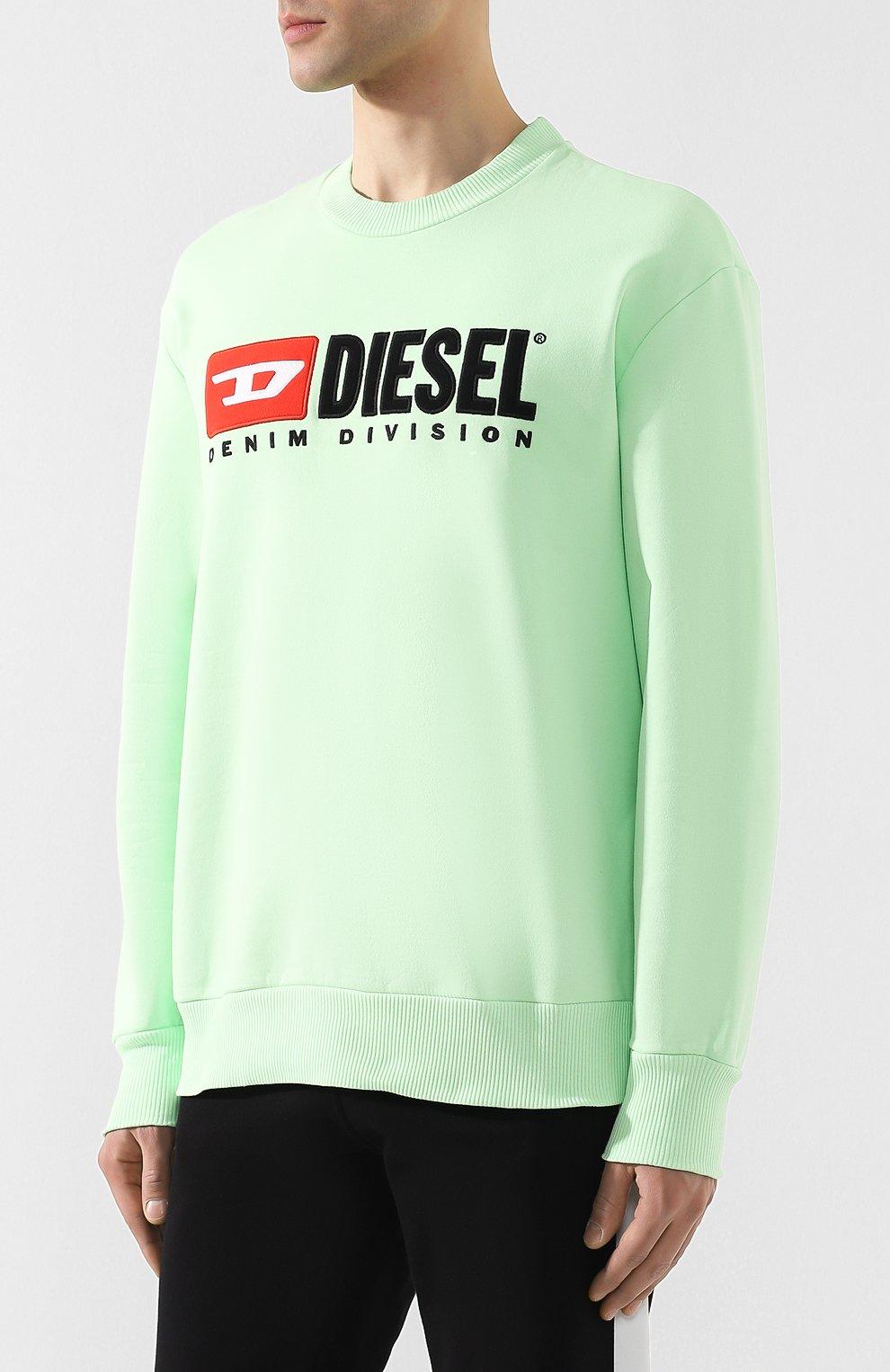 Хлопковый свитшот с принтом Diesel светло-зеленый | Фото №3