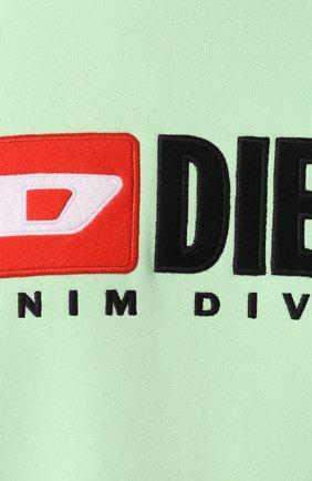 Хлопковый свитшот с принтом Diesel светло-зеленый | Фото №5
