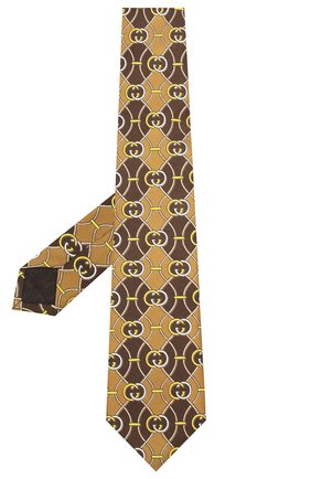 Мужской шелковый галстук GUCCI коричневого цвета, арт. 561986/4E001   Фото 2