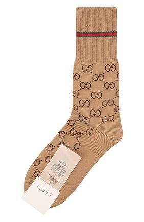 Мужские хлопковые носки GUCCI бежевого цвета, арт. 572266/4G056 | Фото 1