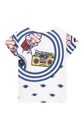Детский хлопковая футболка KENZO белого цвета, арт. KN10098-BB/6M-18M | Фото 2