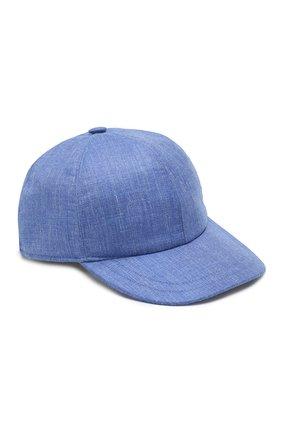 Мужской бейсболка из смеси кашемира и льна KITON синего цвета, арт. UCAPP03/6R60 | Фото 1