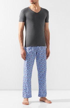 Мужские хлопковая футболка PEROFIL серого цвета, арт. 24189   Фото 2