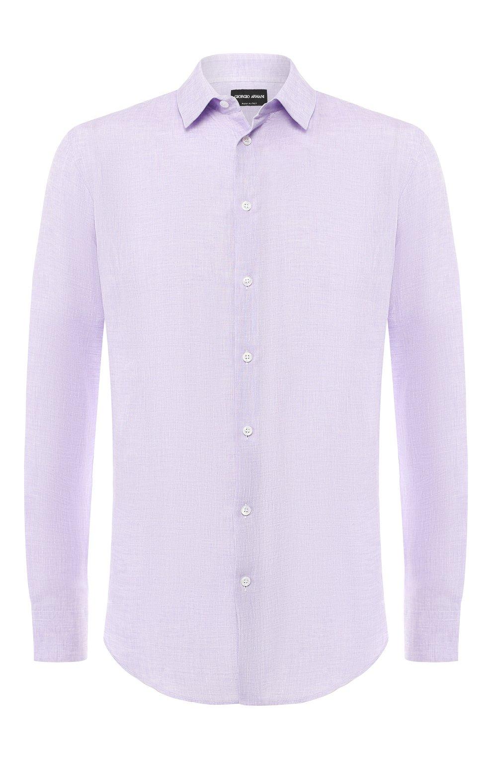 Мужская льняная рубашка GIORGIO ARMANI сиреневого цвета, арт. 8WGCCZ97/TZ243   Фото 1