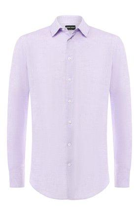 Мужская льняная рубашка GIORGIO ARMANI сиреневого цвета, арт. 8WGCCZ97/TZ243 | Фото 1