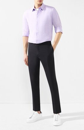 Мужская льняная рубашка GIORGIO ARMANI сиреневого цвета, арт. 8WGCCZ97/TZ243 | Фото 2
