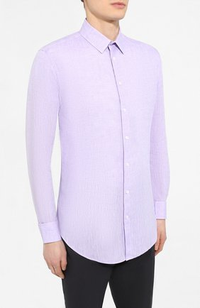 Мужская льняная рубашка GIORGIO ARMANI сиреневого цвета, арт. 8WGCCZ97/TZ243   Фото 3