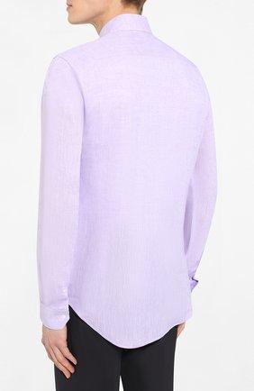 Мужская льняная рубашка GIORGIO ARMANI сиреневого цвета, арт. 8WGCCZ97/TZ243   Фото 4