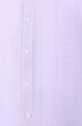 Мужская льняная рубашка GIORGIO ARMANI сиреневого цвета, арт. 8WGCCZ97/TZ243   Фото 5